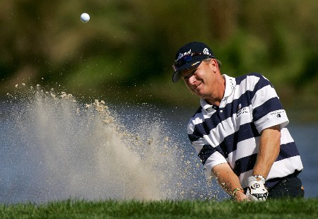 PALM BEACH GARDENS, FL - FEBRUARY 28: Woody Austin hits from the bunker on the 3rd hole during the first round of the Honda Classic at PGA National Resort and Spa on February 28, 2008 in Palm Beach Gardens, Florida.  (Photo by Sam Greenwood/Getty Images)