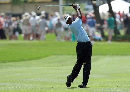 ORLANDO, FL - MARCH 15: Vijay Singh of Fiji hits his second shot to the 1st hole during the third round of the 2008 Arnold Palmer Invitational presented by MasterCard at the Bay Hill Golf Club and Lodge, on March 15, 2008 in Orlando, Florida.  (Photo by David Cannon/Getty Images)