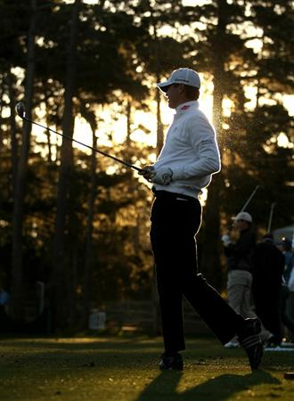 PEBBLE BEACH, CA - FEBRUARY 10:  Sean O'Hair hits on the driving range at the Spyglass Hill Golf Course before Round One of the AT&T Pebble Beach National Pro-Am on February 10, 2011 in Pebble Beach, California.  (Photo by Ezra Shaw/Getty Images)