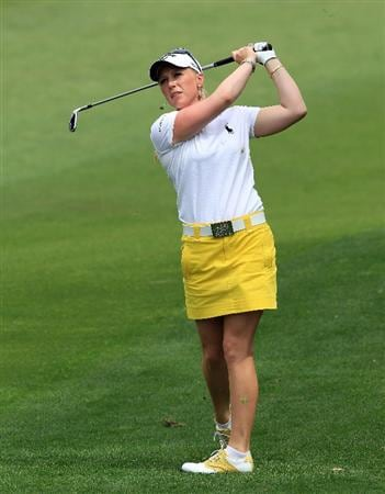 RANCHO MIRAGE, CA - APRIL 02:  Morgan Pressel of the USA plays her second shot at the par 4, 1st hole during the third round of the 2011 Kraft Nabisco Championship on the Dinah Shore Championship Course at the Mission Hills Country Club on April 2, 2011 in Rancho Mirage, California.  (Photo by David Cannon/Getty Images)