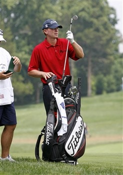BETHESDA, MD - JULY 5: Steve Stricker pulls a club from his bag on the 5th hole during the third round of the AT&T National at Congressional Country Club on July 5, 2008 in Bethesda, Maryland. (Photo by Hunter Martin/Getty Images)