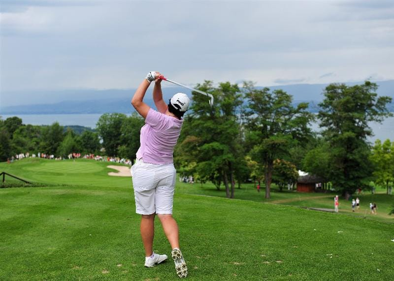 EVIAN-LES-BAINS, FRANCE - JULY 24: Becky Brewerton of Wales plays her tee shot on the 14th hole during the second round of the Evian Masters at the Evian Masters Golf Club on July 24, 2009 in Evian-les-Bains, France.  (Photo by Stuart Franklin/Getty Images)