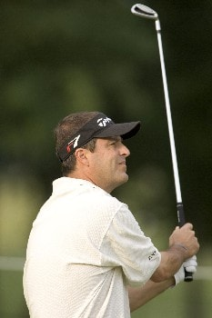 Pete Jordan watches his drive on hole #2 during the Rheem Classic at Hardscrabble Country Club in Fort Smith, Arkansas on Friday May 13, 2005.Photo by Wesley Hitt/WireImage.com