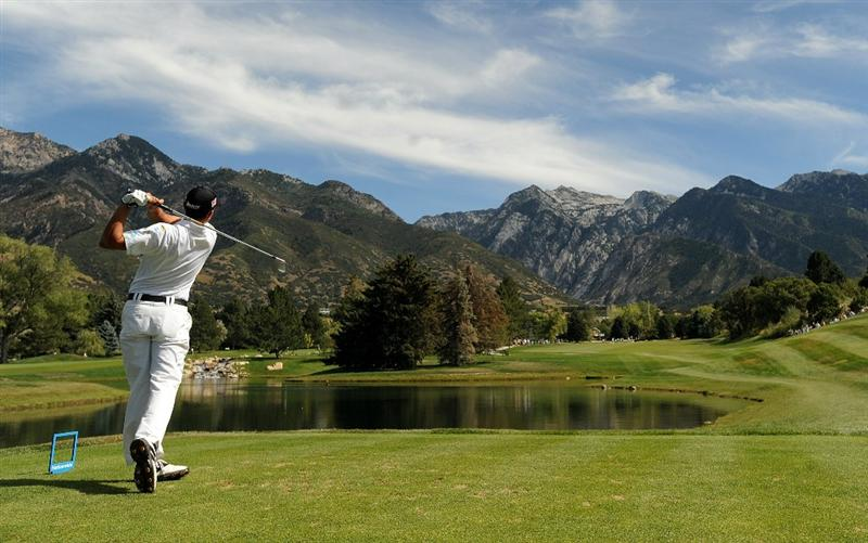 SANDY, UT - SEPTEMBER 12: Bradley Iles of New Zealand hits his tee shot on the 7th hole of the Willow Creek Country Club during the final round of the Utah Championship on September 12, 2010 in Sandy, Utah. (Photo by Steve Dykes/Getty Images)