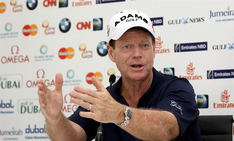 DUBAI, UNITED ARAB EMIRATES - FEBRUARY 03:  Tom Watson of the USA gestuures during his press conference prior to the Omega Dubai Desert Classic on the Majlis Course at the Emirates Golf Club on February 3, 2010 in Dubai, United Arab Emirates.  (Photo by Ross Kinnaird/Getty Images)