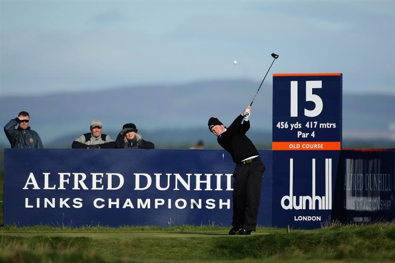 ST. ANDREWS, UNITED KINGDOM - OCTOBER 02: Alastair Forsyth of Scotland tees off on the 15th hole during the first round of The Alfred Dunhill Links Championship at The Old Course on October 2, 2008 in St.Andrews, Scotland. (Photo by Warren Little/Getty Images)