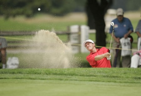 Des Smyth on the 18th hole during the first round of the Commerce Bank Championship being held at the Eisenhower Park Red Course in East Meadow, New York on Friday July 1, 2005.Photo by Mike Ehrmann/WireImage.com