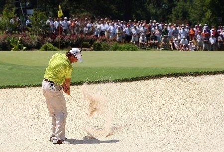 TULSA, OK - AUGUST 12:  Stephen Ames of Canada plays a bunker shot on the second hole during the final round of the 89th PGA Championship at the Southern Hills Country Club on August 12, 2007 in Tulsa, Oklahoma.  (Photo by Stuart Franklin/Getty Images)