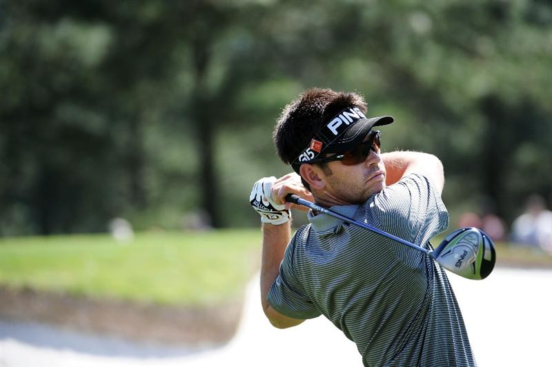 AUGUSTA, GA - APRIL 04:  Louis Oosthuizen of South Africa hits a shot during a practice round prior to the 2011 Masters Tournament at Augusta National Golf Club on April 4, 2011 in Augusta, Georgia.  (Photo by Harry How/Getty Images)