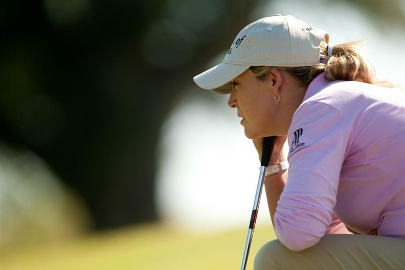 PRATTVILLE, AL - OCTOBER 8: Cristie Kerr lines up a putt during the second round of the Navistar LPGA Classic at the Senator Course at the Robert Trent Jones Golf Trail on October 8, 2010 in Prattville, Alabama. (Photo by Darren Carroll/Getty Images)