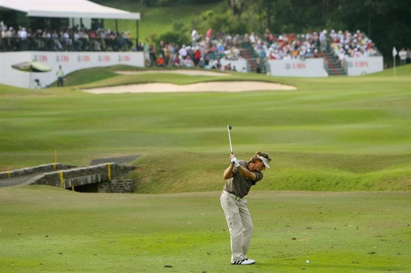 HONG KONG, CHINA - NOVEMBER 22:  Bernhard Langer of Germany plays his approach shot on the 17th hole during the third round of the UBS Hong Kong Open at the Hong Kong Golf Club on November 22, 2008 in Fanling, Hong Kong.  (Photo by Stuart Franklin/Getty Images)