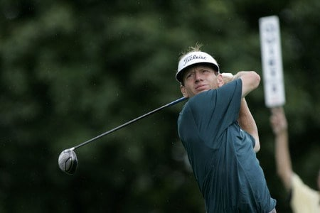 Brad Faxon hits a drive during the fourth round of the Buick Championship at the Tournament Players Club at River Highlands in Cromwell, Connecticut on August 28, 2005.Photo by Michael Cohen/WireImage.com