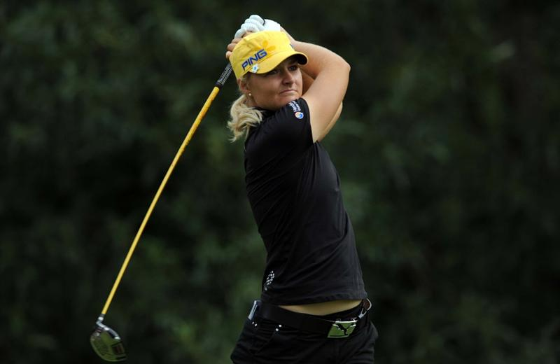 NORTH PLAINS, OR - AUGUST 28: Anna Nordqvist of Sweden tees of on the seventh hole during the first round of the Safeway Classic on August 28, 2009 at Pumpkin Ridge Golf Club in North Plains, Oregon. (Photo by Steve Dykes/Getty Images)