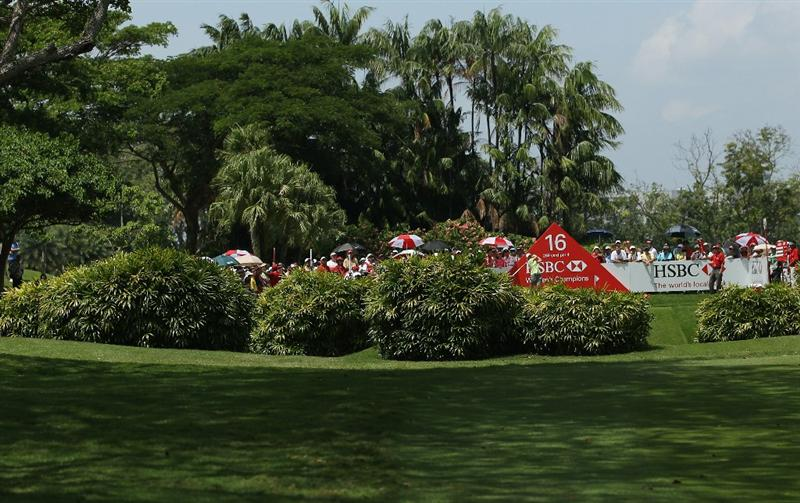 SINGAPORE - FEBRUARY 26:  Karrie Webb of Australia tees off on the 16th hole during the third round of the HSBC Women's Champions at the Tanah Merah Country Club on February 26, 2011 in Singapore.  (Photo by Andrew Redington/Getty Images)