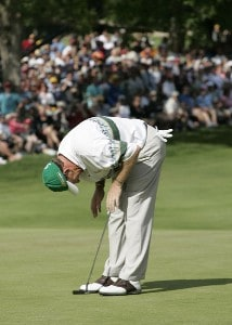 Woody Austin reacts after missing a birdie putt for the lead on #18 during the fourth and final round of the Buick Open held at Warwick Hills Golf & Country Club in Grand Blanc, Michigan, on July 1, 2007. Photo by: Chris Condon/PGA TOURPhoto by: Chris Condon/PGA TOUR