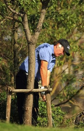 SHANGHAI, CHINA - NOVEMBER 10:  Phil Mickelson of the USA plays out of the rough during the final round of the HSBC Champions at Sheshan Golf Club on November 10, 2008 in Shanghai, China.  (Photo by Scott Halleran/Getty Images)
