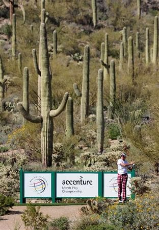 MARANA, AZ - FEBRUARY 18:  Ian Poulter of England plays his tee shot on the 17th hole during round two of the Accenture Match Play Championship at the Ritz-Carlton Golf Club on February 18, 2010 in Marana, Arizona.  (Photo by Stuart Franklin/Getty Images)
