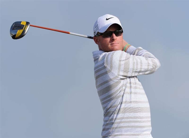 RAGUSA, ITALY - MARCH 18:  Simon Dyson of England plays his tee shot on the 14th hole during the second round of the Sicilian Open at the Donnafugata golf resort and spa on March 18, 2011 in Ragusa, Italy.  (Photo by Stuart Franklin/Getty Images)