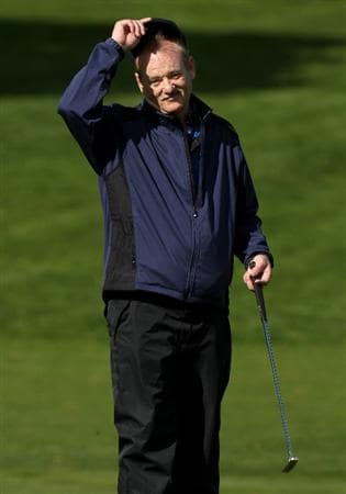 PEBBLE BEACH, CA - FEBRUARY 13:  Comedian Bill Murray tips his cap to the crowd on the 12th hole during the second round of the AT&T Pebble Beach National Pro-Am at Poppy Hills Golf Course on February 13, 2009 in Pebble Beach, California.  (Photo by Stephen Dunn/Getty Images)