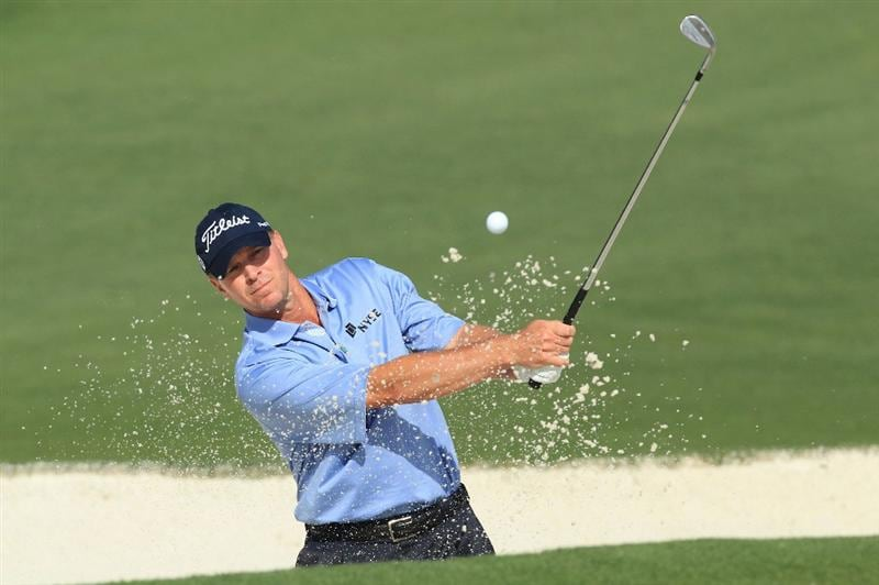 AUGUSTA, GA - APRIL 07:  Steve Stricker plays a bunker shot during a practice round prior to the 2010 Masters Tournament at Augusta National Golf Club on April 7, 2010 in Augusta, Georgia.  (Photo by David Cannon/Getty Images)