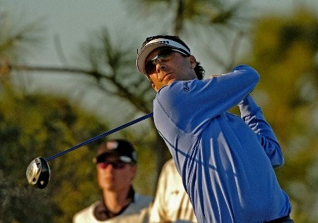 Billy Andrade hits from the 18th tee  during first round competition at the 2005 Honda Classic March 10, 2005 in Palm Beach Gardens, Florida.