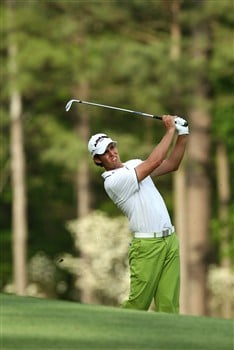 AUGUSTA, GA - APRIL 10:  Aaron Baddeley of Australia watches his tee shot on the 12th during the first round of the 2008 Masters Tournament at Augusta National Golf Club on April 10, 2008 in Augusta, Georgia.  (Photo by David Cannon/Getty Images)