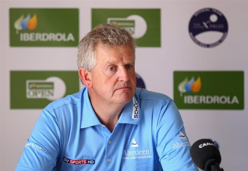 MALLORCA, SPAIN - MAY 12:  Colin Montgomerie of Scotland attends a press conference on his arrival to the Pula Golf Club during day one of the Iberdrola Open at Pula Golf Club on May 12, 2011 in Mallorca, Spain.  (Photo by Julian Finney/Getty Images)