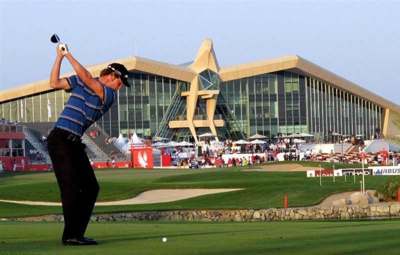 ABU DHABI, UNITED ARAB EMIRATES - JANUARY 22:  Chris Wood of England on the par five 18th hole during the second round of the Abu Dhabi Golf Championship at the Abu Dhabi Golf Club on January 22, 2010 in Abu Dhabi, United Arab Emirates.  (Photo by Ross Kinnaird/Getty Images)