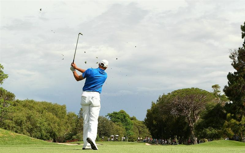PERTH, AUSTRALIA - NOVEMBER 21:  Peter Fowler of Australia plays his approach shot on the 15th hole during day three of the 2010 Australian Senior Open at Royal Perth Golf Club on November 21, 2010 in Perth, Australia.  (Photo by Paul Kane/Getty Images)
