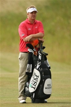 VERSAILLES, FRANCE - JUNE 27:  Ross McGowan of England stands with his bag on the 14th hole during the second round of the Open de France ALSTOM at the Le Golf National Golf Club on June 27, 2008 in Versailles, France.  (Photo by Warren Little/Getty Images)