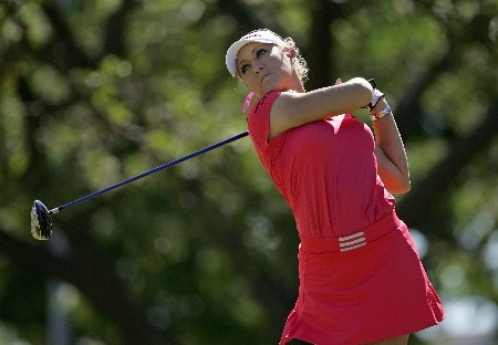 KAPOLEI, HI - FEBRUARY 21:  Natalie Gulbis hits her tee shot on the 17th hole during the first round of  the Fields Open on February 21, 2008  at the Ko Olina Golf Club in Kapolei, Hawaii.  (Photo by Andy Lyons/Getty Images)