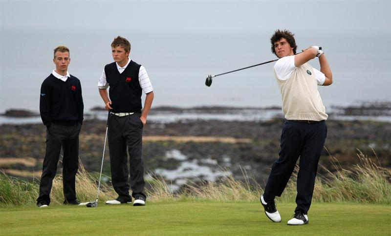ST. ANDREWS, UNITED KINGDOM - AUGUST 30: Emilio Cuartero of the Continent of Europe tees off on the third hole during the foursomes matches of The Jacques Leglise Trophy 2008 between Great Britain & Ireland and the Continent of Europe, held at Kingsbarns Golf Club, on August 29, 2008. in Fife, Scotland.  (Photo by Warren Little/Getty Images)
