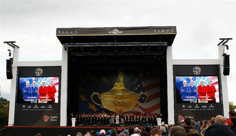 NEWPORT, WALES - SEPTEMBER 30:  General View of the big screens displaying the four ball pairings for day one during the Opening Ceremony prior to the 2010 Ryder Cup at the Celtic Manor Resort on September 30, 2010 in Newport, Wales.  (Photo by Sam Greenwood/Getty Images)