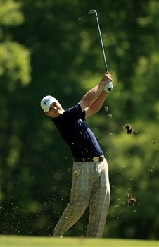 CHARLOTTE, NC - MAY 01:  Zach Johnson plays into the 11th green during the first round of the Wachovia Championship at Quail Hollow Country Club on May 1, 2008 Charlotte, North Carolina.  (Photo by Richard Heathcote/Getty Images)