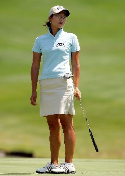 MORELIA, MEXICO - APRIL 26:  Ji-Young Oh of South Korea reacts to missing a putt on the third green during the first round of the Corona Championship April 26, 2007 at Tres Marias Club de Golf in Morelia, Michoacan, Mexico.  (Photo by Matthew Stockman/Getty Images)