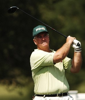 Ed Dougherty hits from the 12th tee during the first round of the FedEX Kinko's Classic at the Hills Country Club in Austin, Texas April 29, 2005.Photo by Steve Grayson/WireImage.com