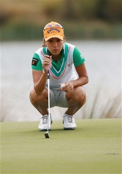 AVENTURA, FL - APRIL 27:  Momoko Ueda lines up a putt on the seventh hole during the final round of the Stanford International Pro-Am at Fairmont Turnberry Isle Resort & Club April 27, 2008 in Aventura, Florida.  (Photo by Doug Benc/Getty Images)