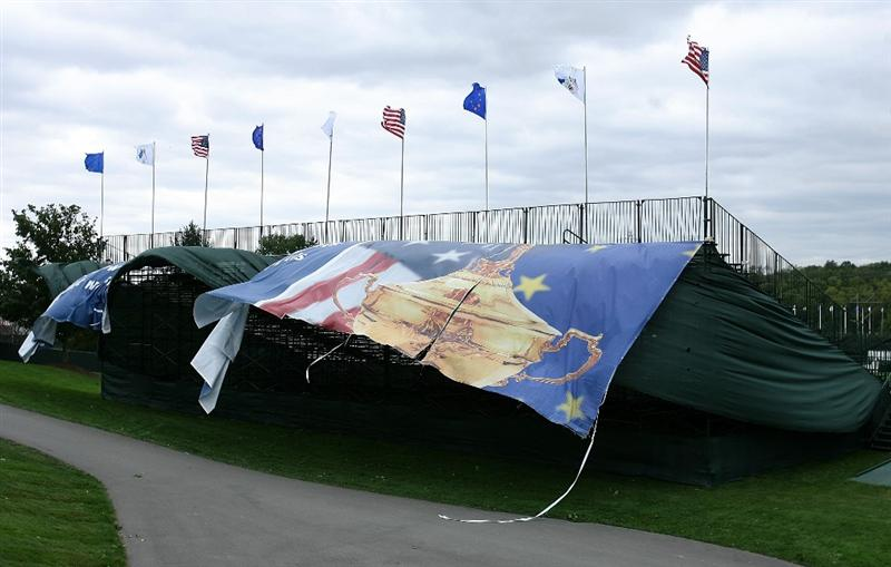 LOUISVILLE, KY - SEPTEMBER 14: Grandstands blow during high winds prior to the 37th Ryder Cup at Valhalla Golf Club on September 14, 2008 in Louisville, Kentucky. (Photo by Andy Lyons/Getty Images)
