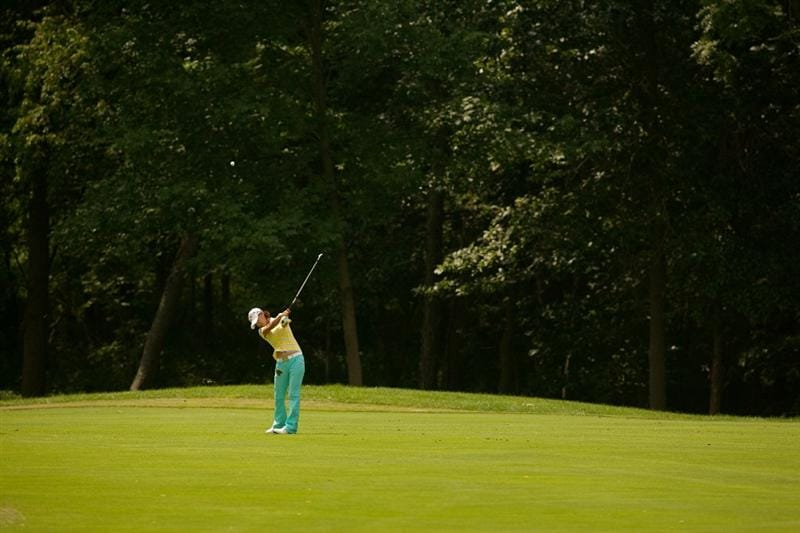 SPRINGFIELD, IL - JUNE 11: Na Yeon Choi of South Korea follows through on an approach shot during the second round of the LPGA State Farm Classic at Panther Creek Country Club on June 11, 2010 in Springfield, Illinois. (Photo by Darren Carroll/Getty Images)