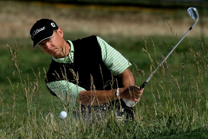 PEBBLE BEACH, CA - JUNE 16:  Jerry Smith hits a bunker shot during a practice round prior to the start of the 110th U.S. Open at Pebble Beach Golf Links on June 16, 2010 in Pebble Beach, California.  (Photo by Stephen Dunn/Getty Images)