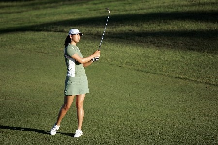 KAPOLEI, HI - FEBRUARY 21: Michelle Wie hits her third shot on the 13th hole during the first round of the Fields Open on February 21, 2008 at the Ko Olina Golf Club in Kapolei, Hawaii. (Photo by Andy Lyons/Getty Images)
