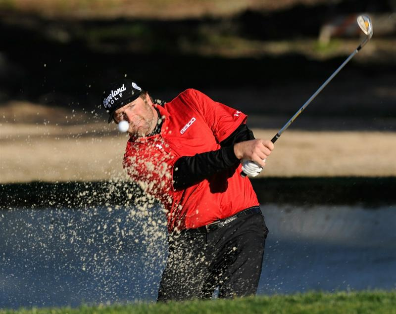 PEBBLE BEACH, CA - FEBRUARY 11:  Steve Marino plays his bunker shot on the second hole during the second round of the AT&T Pebble Beach National Pro-Am at the Pebble Beach Golf Links on February 11, 2011  in Pebble Beach, California  (Photo by Stuart Franklin/Getty Images)
