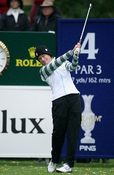 HALMSTAD, SWEDEN - SEPTEMBER 14:  Catriona Matthew of Europe hits her tee shot on the fourth hole during the morning foursome matches of the Solheim Cup at on September 14, 2007 in Halmstad, Sweden.  (Photo by Jonathan Ferrey/Getty Images)