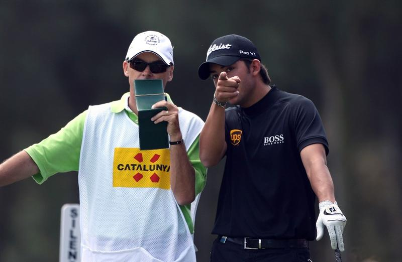 GIRONA, SPAIN - APRIL 30:  Pablo Larrazabal of Spain points out the camera to his caddie Rod Gutry on the ninth tee box during the first round of the Open de Espana at the PGA Golf Catalunya on April 30, 2009 in Girona, Spain.  (Photo by Warren Little/Getty Images)