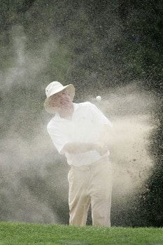 Dave Eichelberger blasts out of the bunker on 13 during second round of the 2005 Commerce Bank Championship at Eisenhower Park in East Meadow, New York on July 2, 2005.Photo by Michael Cohen/WireImage.com