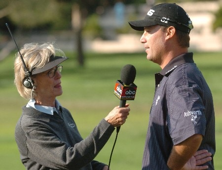 Chris DiMarco is interviewed by Judy Rankin after defeating Retief Goosen in the Semifinal round of the WGC Accenture Match Play Championship held at the LaCosta Resort and Spa on Saturday, February 26, 2005.