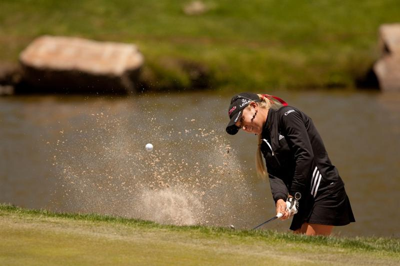 MORELIA, MEXICO - APRIL 29: Natalie Gulbis plays a bunker shot during the first round of the Tres Marias Championship at the Tres Marias Country Club on April 29, 2010 in Morelia, Mexico. (Photo by Darren Carroll/Getty Images)