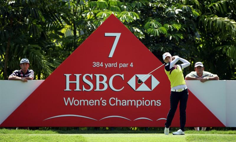 SINGAPORE - FEBRUARY 26:  Na Yeon Choi of South Korea tees off on the seventh hole during the third round of the HSBC Women's Champions at the Tanah Merah Country Club on February 26, 2011 in Singapore.  (Photo by Andrew Redington/Getty Images)