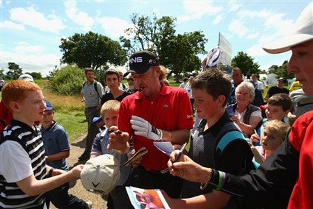 LUSS, UNITED KINGDOM - JULY 13:  Miguel Angel Jimenez of Spain signs autographs during the Final Round of The Barclays Scottish Open at Loch Lomond Golf Club on July 13, 2008 in Luss, Scotland. (Photo by Richard Heathcote/Getty Images)