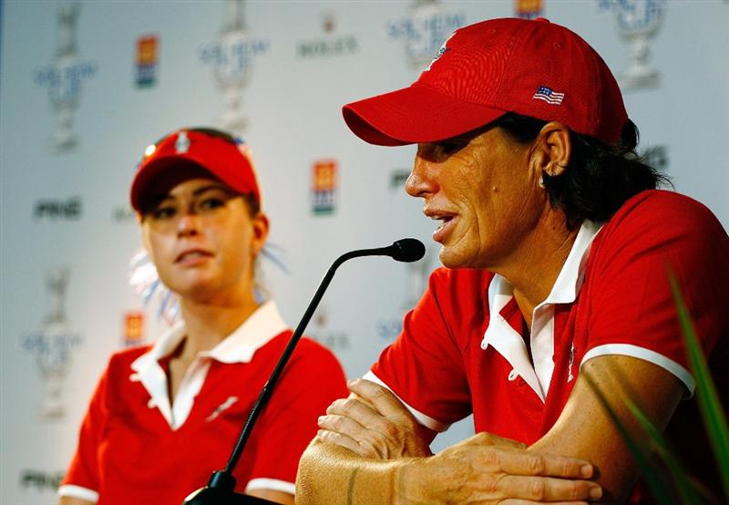 SUGAR GROVE, IL - AUGUST 18:  (R-L) Juli Inkster of the U.S. Team speaks with the media as Paula Creamer looks on prior to the start of the 2009 Solheim Cup at Rich Harvest Farms on August 18, 2009 in Sugar Grove, Illinois.  (Photo by Scott Halleran/Getty Images)